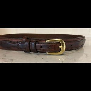Brighton Equestrian Brown Cowhide Belt Sz 30 Brass